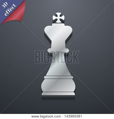 Chess King Icon Symbol. 3D Style. Trendy, Modern Design With Space For Your Text Vector