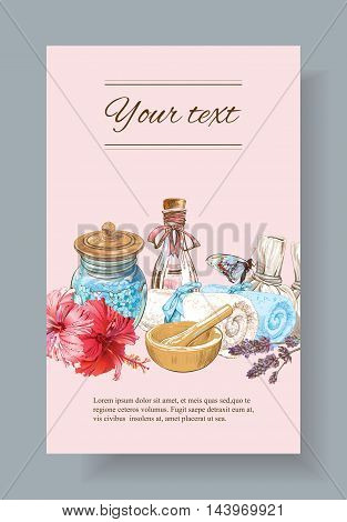 Spa treatment banner with lotus, shell and hibiscus flowers.Design for cosmetics, store, spa and beauty salon, organic health care products. With place for text. Vector illustration.