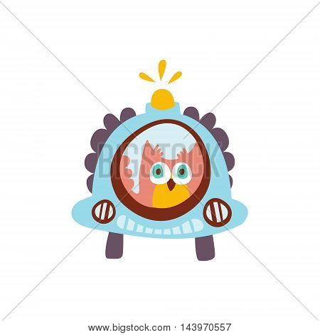 Owl Driving A Car With Blinker Stylized Fantastic Illustration Childish Simplified Funny Flat Drawing On White Background