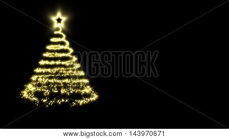 Golden lights Christmas tree with a star treetopper on a black background.