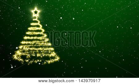 Golden lights Christmas tree with a star treetopper. Green background with snowflakes.