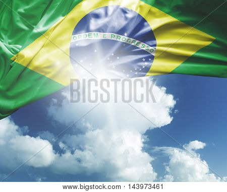 Brazil flag on a beautiful day