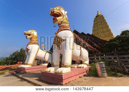 Chedi Buddhakhaya built to mimic the Mahabodhi stupa of Bodhgaya in India is a symbol of Sangkhlaburi Kanchanaburi Thailand.