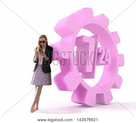 Attractive fashionable red head teen near time operation mode in gear. Huge glasses. Looks at the touch screen phone. 3d rendering