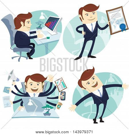 Vector Illustration Office man set: showing a diploma, Happy worker, busy white collar working hard by eight hands, sitting at his desk
