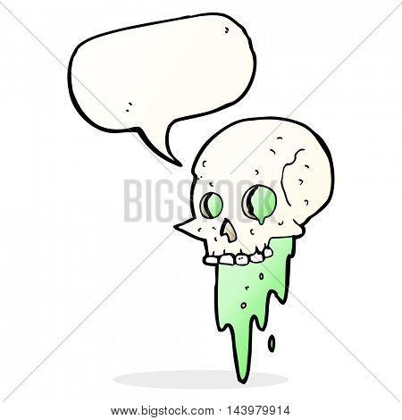 gross halloween skull cartoon with speech bubble