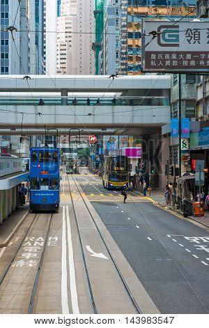 Hong Kong China - October 25 2015: Hong Kong Tramways The trams run on a double track tramline built parallel to the northern coastline of Hong Kong Island.