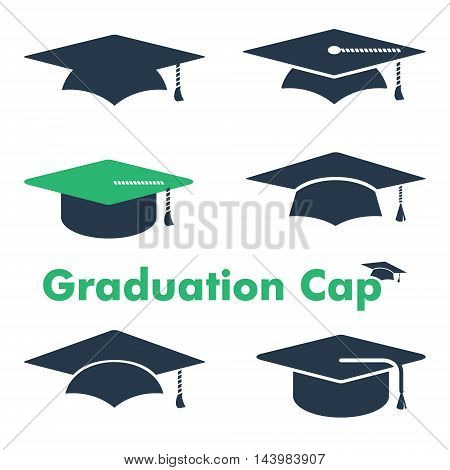 Graduate Cap vector icon set. Educational icon or business sign element template. High school, college & high education symbol. Sample text. Layered, editable