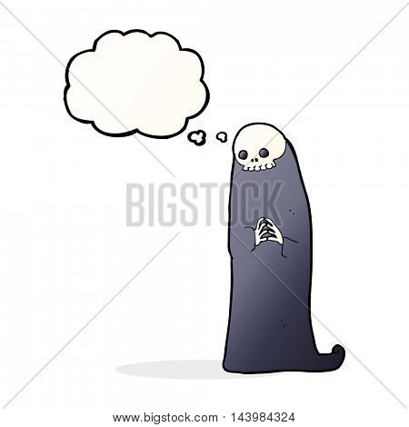 cartoon halloween ghoul with thought bubble