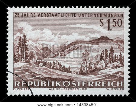 ZAGREB, CROATIA - JULY 03: A stamp printed in Austria shows Iron mining at Erzberg (Steyr), 25th Anniversary of Nationalized Enterprise, circa 1971, on July 03, 2014, Zagreb, Croatia
