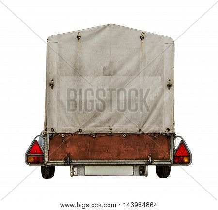 Rear Of Towed Car Trailer With Canvas Tarp For Your Text On White Background
