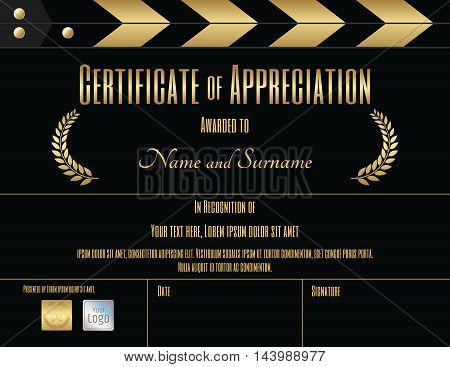 Certificate of appreciation template in black and gold with movie and slate film theme