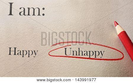 Happy vs Unhappy survey with red pencil