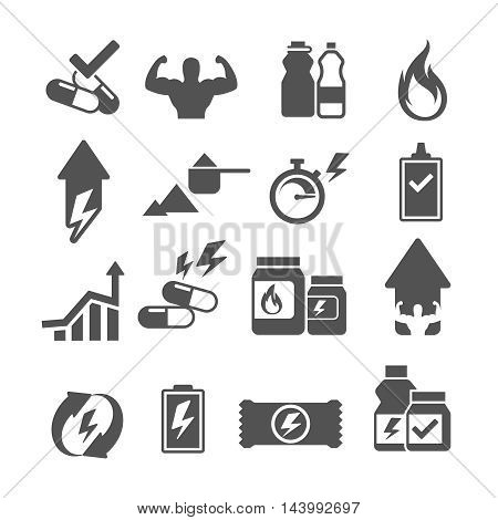 Sport supplements effects icons for fitness diet and vitamin. Vector illustration