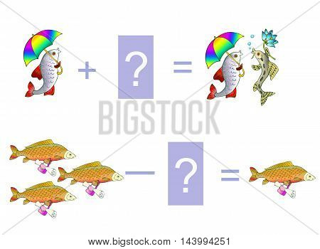 Cartoon illustration of mathematical addition and subtraction. Examples with cute fishes. Educational game for children. Vector image.