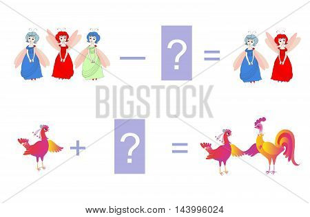 Cartoon illustration of mathematical addition and subtraction. Two examples - with cute fairies and colorful chickens. Educational game for children. Vector image.