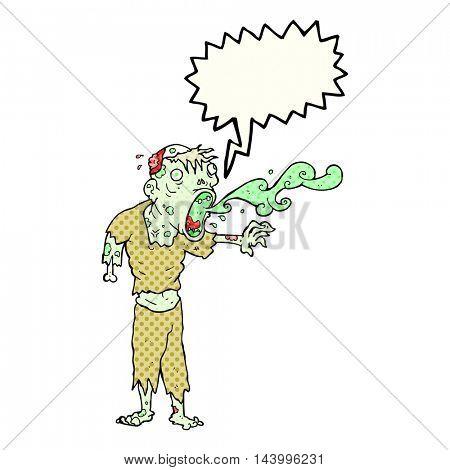 freehand drawn comic book speech bubble cartoon gross zombie