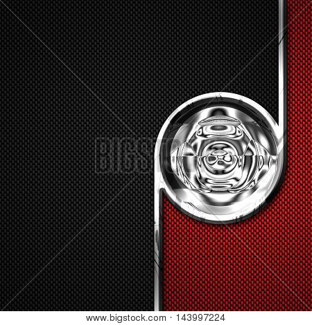 red black carbon fiber and circle chromium frame. metal background. material design. 3d illustration.