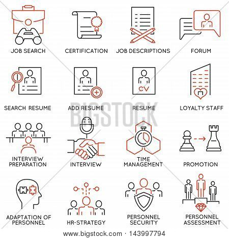 Vector set of 16 linear thin icons related to striving for success leadership development career progress corporate management professional consulting service and personal training. Mono line pictograms and infographics design elements - part 5
