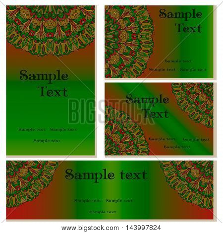 Business green templates set. Business cards invitations and banners. Mandala pattern and ornaments. Happy design pattern. Arabic India Islam Aisa.