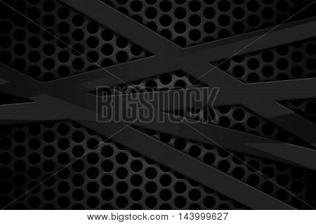 gray carbon fiber frame on black mesh carbon background. metal background and texture. 3d illustration material design.