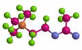 Molecular structure of Acetylcholine neurotransmitter 3D rendering poster
