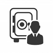 strongbox businessman silhouette necktie icon. Flat and Isolated design. Vector illustration poster