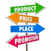 Product Price Place Promotion 4 Ps Marketing Signs 3d Illustration poster