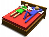 3d illustration of a couple having sex on a bed poster