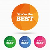 You are the best icon. Customer award symbol. Best buyer. Triangular low poly button with flat icon. Vector poster