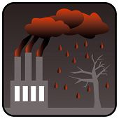 Environment Polluting Factory with three chimneys generating toxic air pollution and Acid Rain. Vector illustration poster