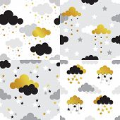Scandinavian seamless pattern set. Gold monochrome seamless patterns. Kids background. Vector seamless baby pattern. Perfect for kids bed linen baby cotton kids wallpaper. poster
