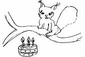 Squirell with birthday cake (black & white sketch) poster