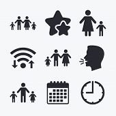 Family with two children icon. Parents and kids symbols. One-parent family signs. Mother and father divorce. Wifi internet, favorite stars, calendar and clock. Talking head. Vector poster