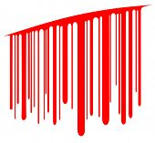 Editable vector design element of blood dripping from a cut as a barcode poster