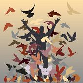 Vector silhouette of a man and flock of pigeons with all elements as separate objects poster