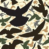 Illustrated seamless tile of a flock of flying pigeons poster