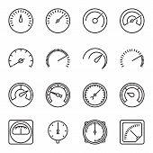 Meter icons. Symbols of speedometers, manometers, tachometers etc. Linear vector illustration poster