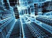 Technology abstract background - computer-generated image. 3d render - fractal illustration in tech style: streets of surreal city or room space station. Trendy concept for high-tech, telecommunications, industry design projects. poster
