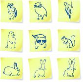 forest creatures drawings on post it notes original vector illustration 6 color versions included poster
