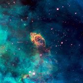 Image of a stellar jet in the Carina Nebula imaged by Hubble's WFC3 and UVIS detector. Universe filled with stars nebula and galaxy. Elements of this image furnished by NASA. poster