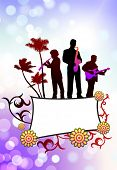 Live Music Band on Tropical Frame Background Original Vector Illustration poster