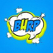 Speech colored cloud bubble Pop-Art Style. Pop art comic blue background space comments burp. Funny balloon comics book template. Vector illustration. poster