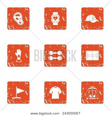 Sport Rise Icons Set. Grunge Set Of 9 Sport Rise Vector Icons For Web Isolated On White Background