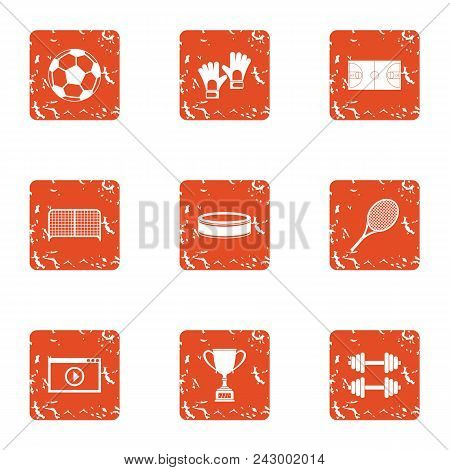 Sport Vision Icons Set. Grunge Set Of 9 Sport Vision Vector Icons For Web Isolated On White Backgrou