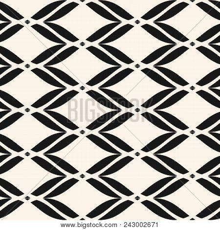 Vector Seamless Pattern. Abstract Geometric Monochrome Background With Curved Shapes, Elegant Mesh T