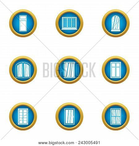 Little Window Icons Set. Flat Set Of 9 Little Window Vector Icons For Web Isolated On White Backgrou