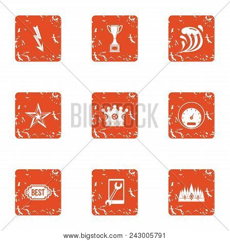 Quick Decision Icons Set. Grunge Set Of 9 Quick Decision Vector Icons For Web Isolated On White Back