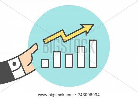 Icon Of Growth Chart In The Businessman Hand. Growth Chart In Line Graphic. Hand Of Businessman Hold