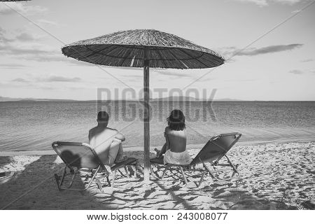 Sensual Love Game. Couple In Love. Couple On Vacation Or Honeymoon. Man And Woman Topless Enjoy View